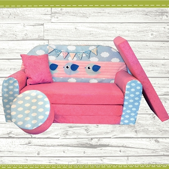 kindersofa zum aufklappen bird cloud 33 cloud pink. Black Bedroom Furniture Sets. Home Design Ideas