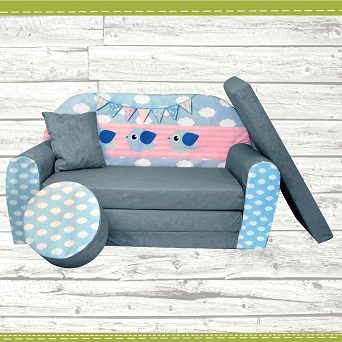 Kindersofa zum Aufklappen Bird Cloud 34. Cloud Grey